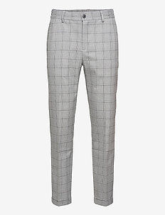 Pino Check Elastic Waist Pants - casual trousers - light grey melange