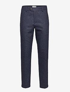 Pavia Wool Herringbone Suit Pants - suit trousers - dark navy/black
