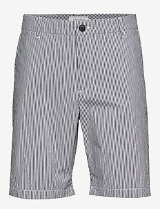 Lyon Seersucker Shorts - chinos shorts - white/navy stripe