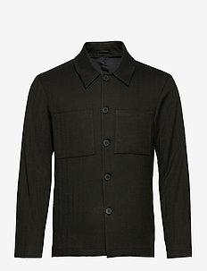 Marseille Herringbone Jacket - light jackets - deep forrest/black