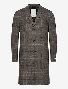 Madison Wool Check Coat - villakangastakit - dark sand/black
