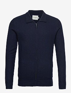 Edison Boiled Wool Hybrid - gilets - dark navy