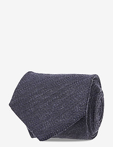 Stanton Herringbone Tie - ties - dark navy