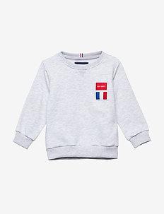 Flag Sweatshirt Kids - SNOW MELANGE