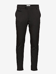 Como Pinstripe Suit Pants - CHARCOAL/OLIVE GREEN
