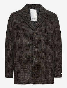 Montgomery Check Wool Coat - wool coats - black/brown/grey check