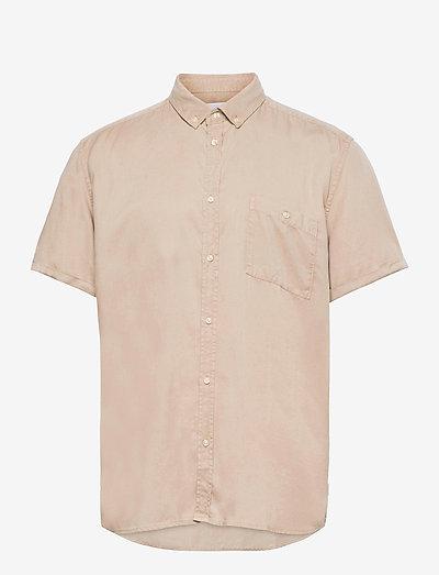 Leonardo Tencel Twill SS Shirt - chemises à carreaux - dark sand