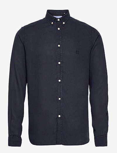 Christoph Tencel Dobby Shirt - linnen overhemden - dark navy