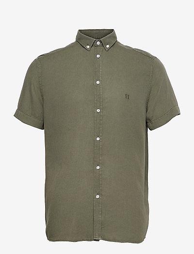 Harvey Tencel Dobby SS Shirt - checkered shirts - lichen green