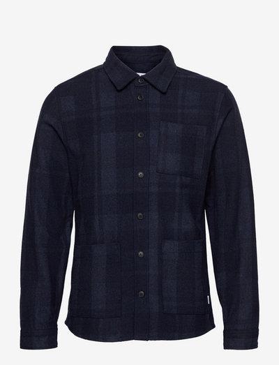 Jason Check Wool Hybrid - koszule w kratkę - dark navy