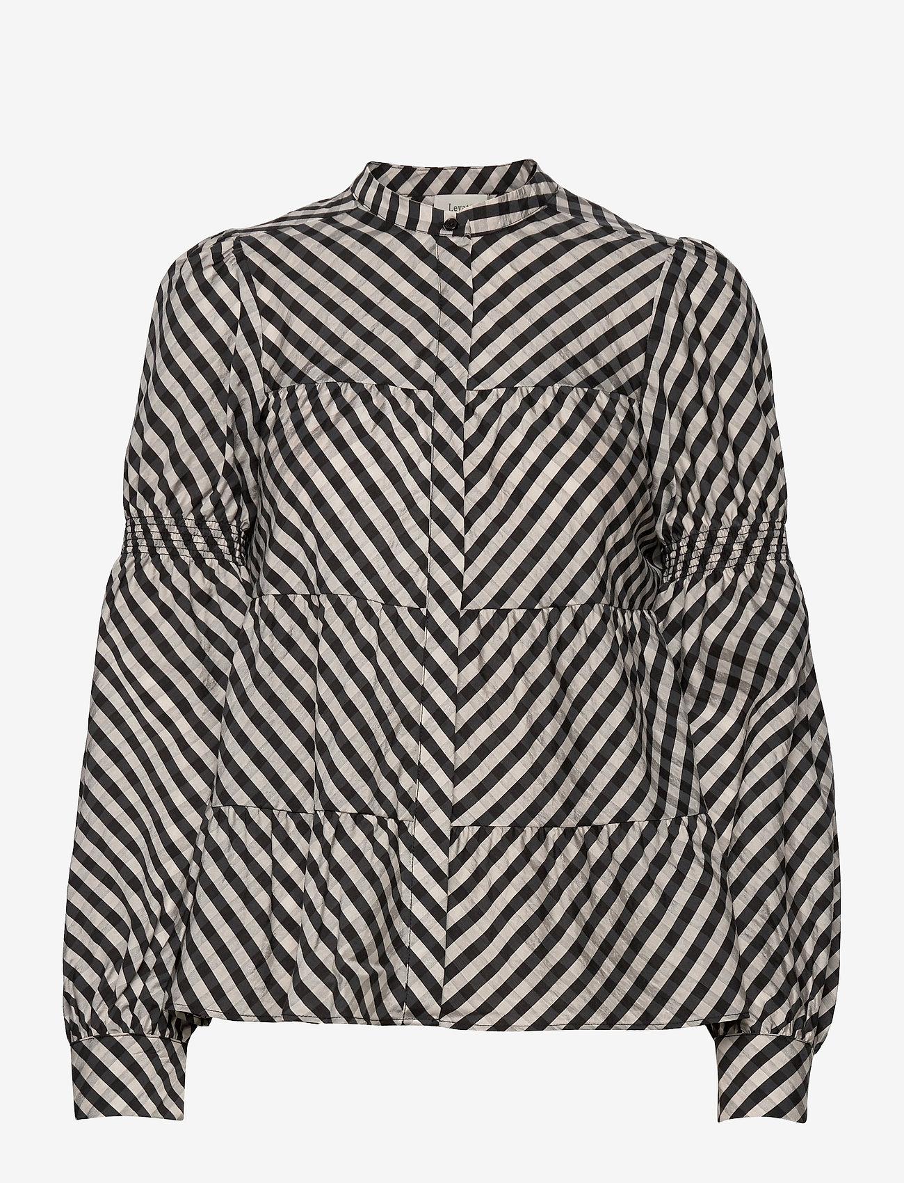 Levete Room - LR-KAMMA - long sleeved blouses - l911c - pumice stone combi - 0