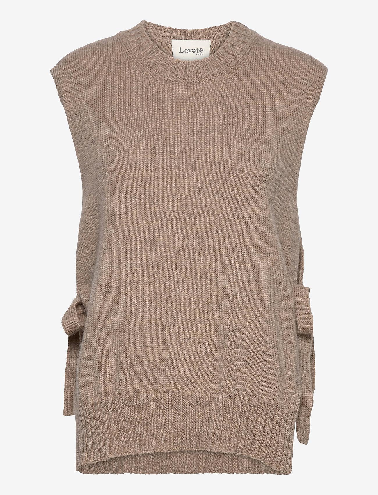 Levete Room - LR-GYMLA - knitted vests - l9825 - light beige melange - 0