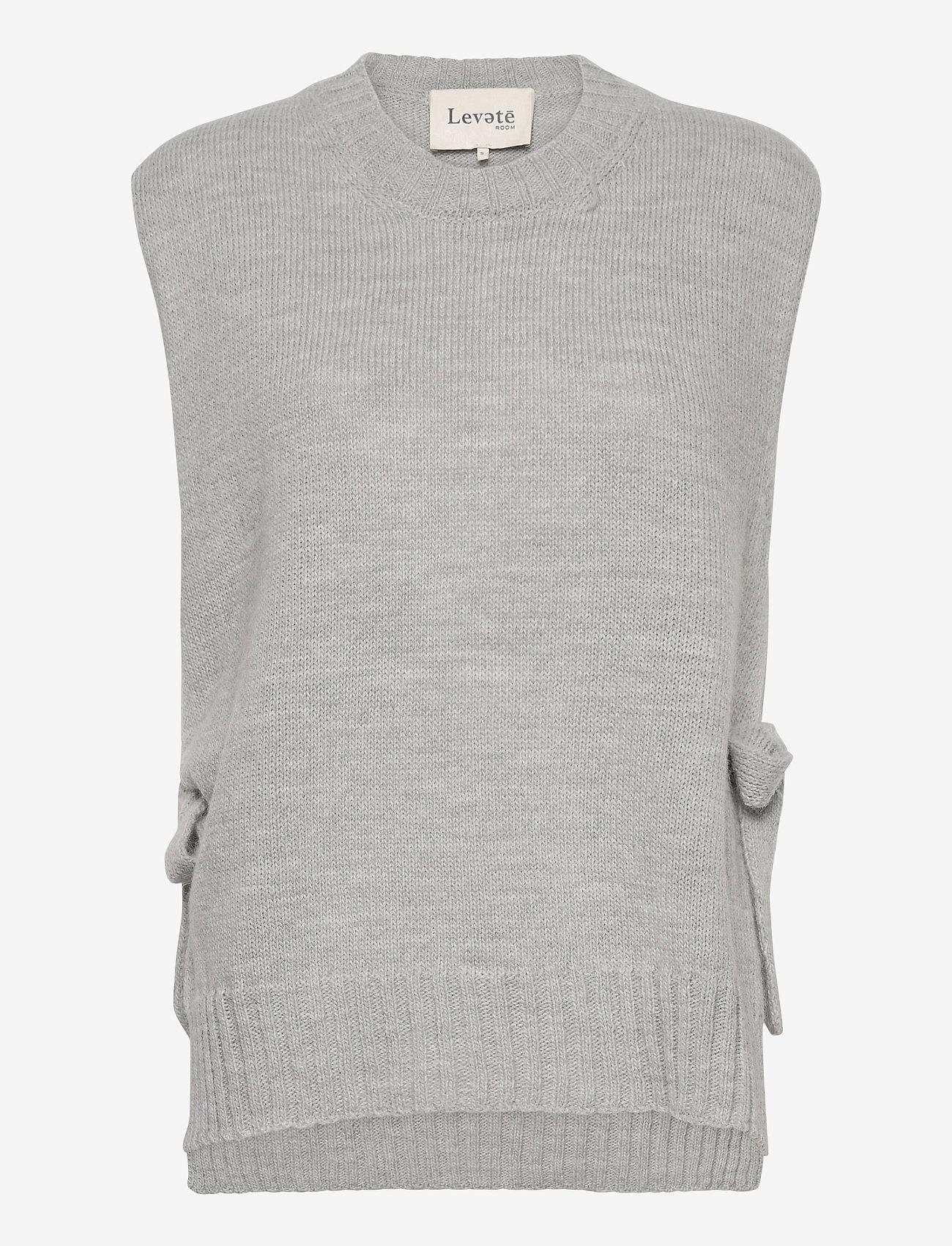 Levete Room - LR-GYMLA - knitted vests - l9955 - sky grey melange - 0