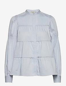 LR-ISLA SOLID - long sleeved blouses - l201 - light soft blue