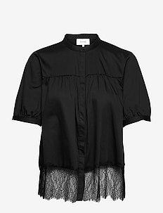 LR-ISLA SOLID - kortærmede bluser - l999 - black