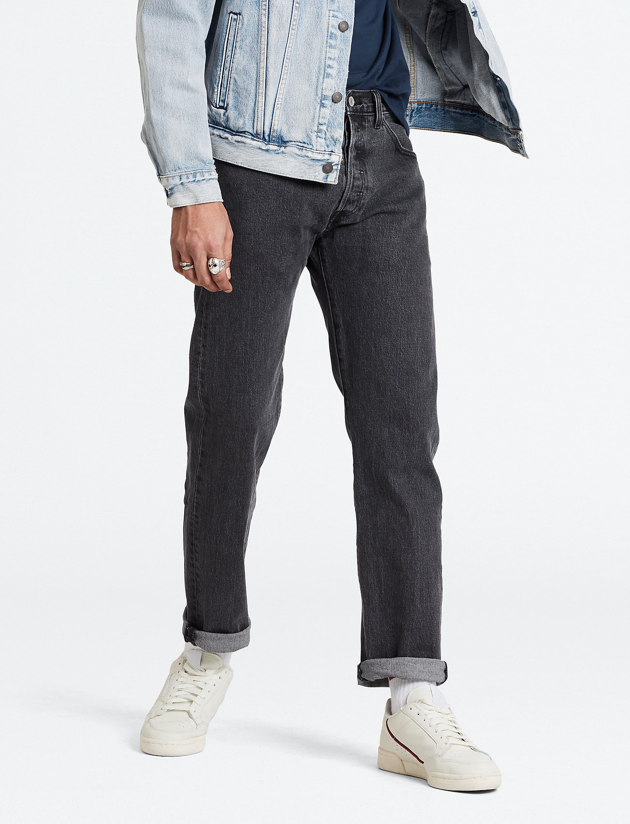 LEVI´S Men - 501 93 STRAIGHT RAISIN STONE - regular jeans - med indigo - worn in - 0