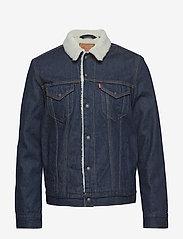 LEVI´S Men - TYPE 3 SHERPA TRUCKER ROCKRIDG - denim jackets - med indigo - worn in - 0