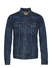 THE TRUCKER JACKET PALMER TRUC - MED INDIGO - WORN IN
