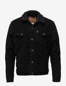 TYPE 3 SHERPA TRUCKER BLACK CO - denim jackets - blacks