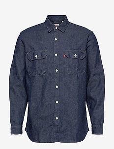 JACKSON WORKER LT WT COTTON HE - rutiga skjortor - dark indigo - flat finish