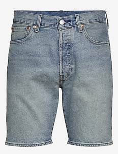501 HEMMED SHORT ISLAND STREAM - denim shorts - light indigo - worn in