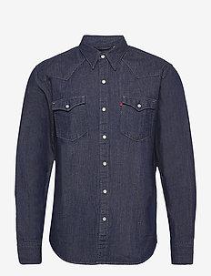 BARSTOW WESTERN RED CAST RINSE - jeansskjortor - dark indigo - flat finish