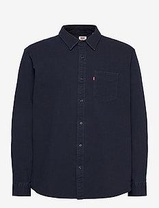 SUNSET 1 PKT SLIM BLACK INDIGO - basic skjortor - dark indigo - flat finish