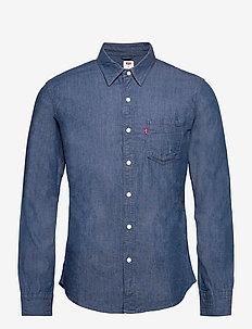 SUNSET 1 PKT SLIM ECOVERA CHAM - chemises en jean - med indigo - flat finish