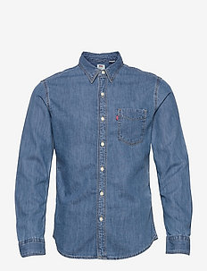 SUNSET 1 PKT SLIM COTTON TENCE - denim shirts - med indigo - flat finish