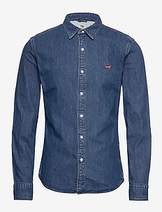 LS BATTERY HM SHIRT SLIM REDCA - denimowe koszulki - blues