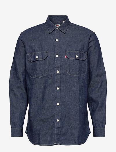 JACKSON WORKER LT WT COTTON HE - chemises à carreaux - dark indigo - flat finish