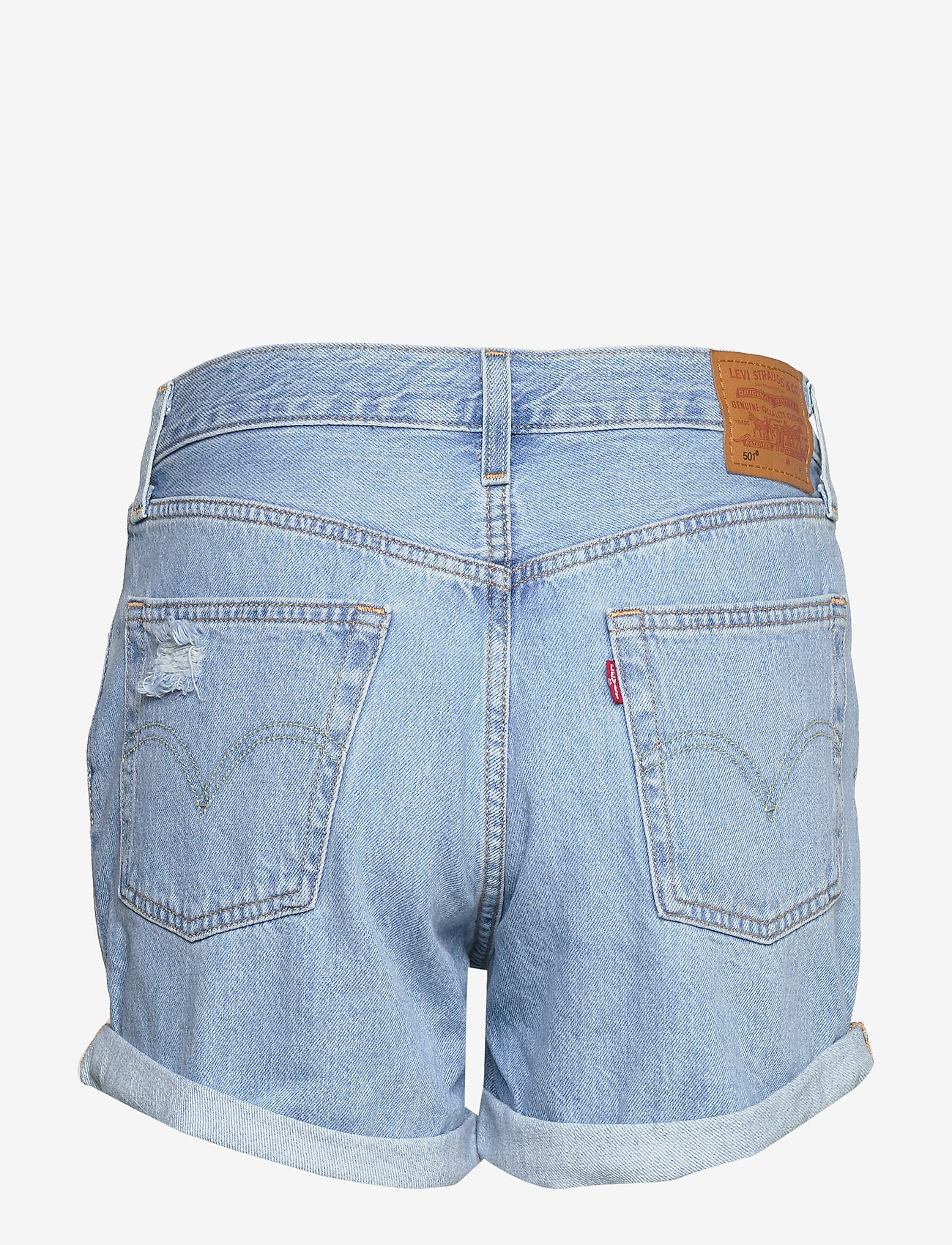 LEVI´S Women - 501 SHORT LONG MONTGOMERY MEND - denimshorts - light indigo - worn in