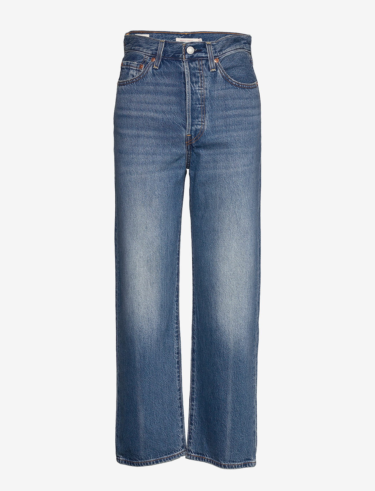LEVI´S Women - RIBCAGE STRAIGHT ANKLE AT THE - brede jeans - med indigo - worn in - 0