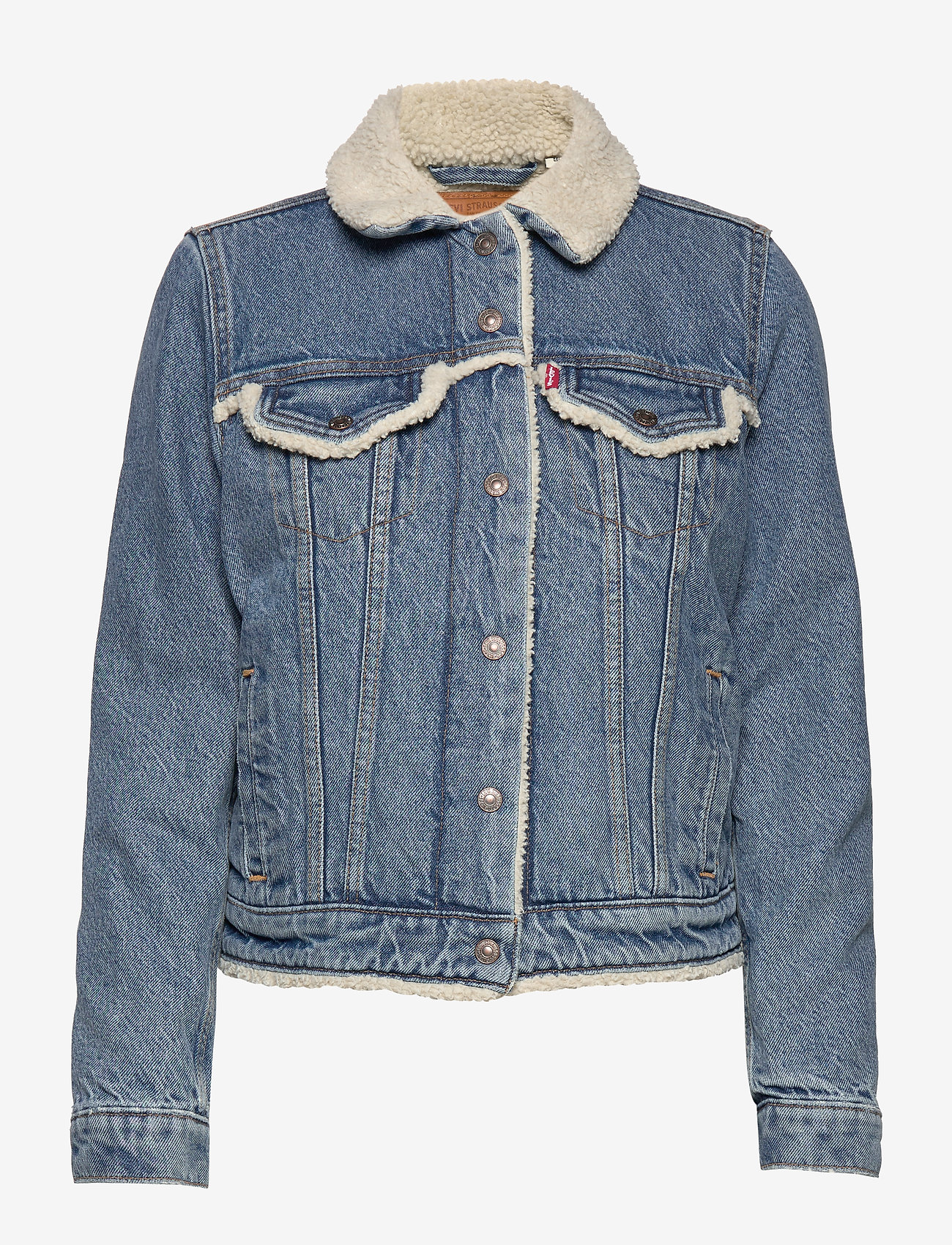 LEVI´S Women - ORIG SHERPA TRIM TRUCKER CONCR - vestes en jean - light indigo - worn in