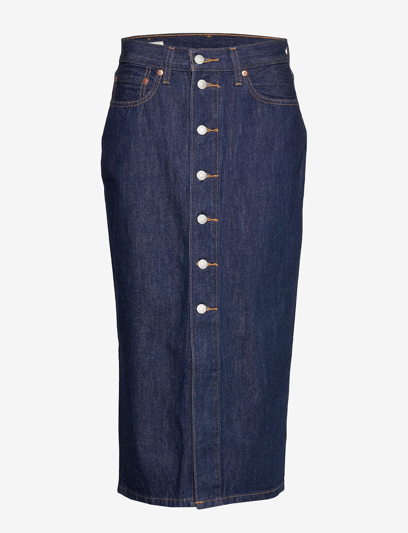 LEVI´S Women - BUTTON FRONT MIDI SKIRT JUNIPE - denimnederdele - dark indigo - flat finish - 0