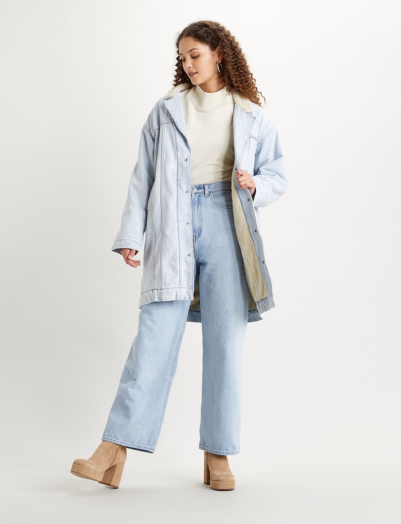 LEVI´S Women - REVERSIBLE SHERPA COAT REVERSE - lette frakker - med indigo - worn in - 0