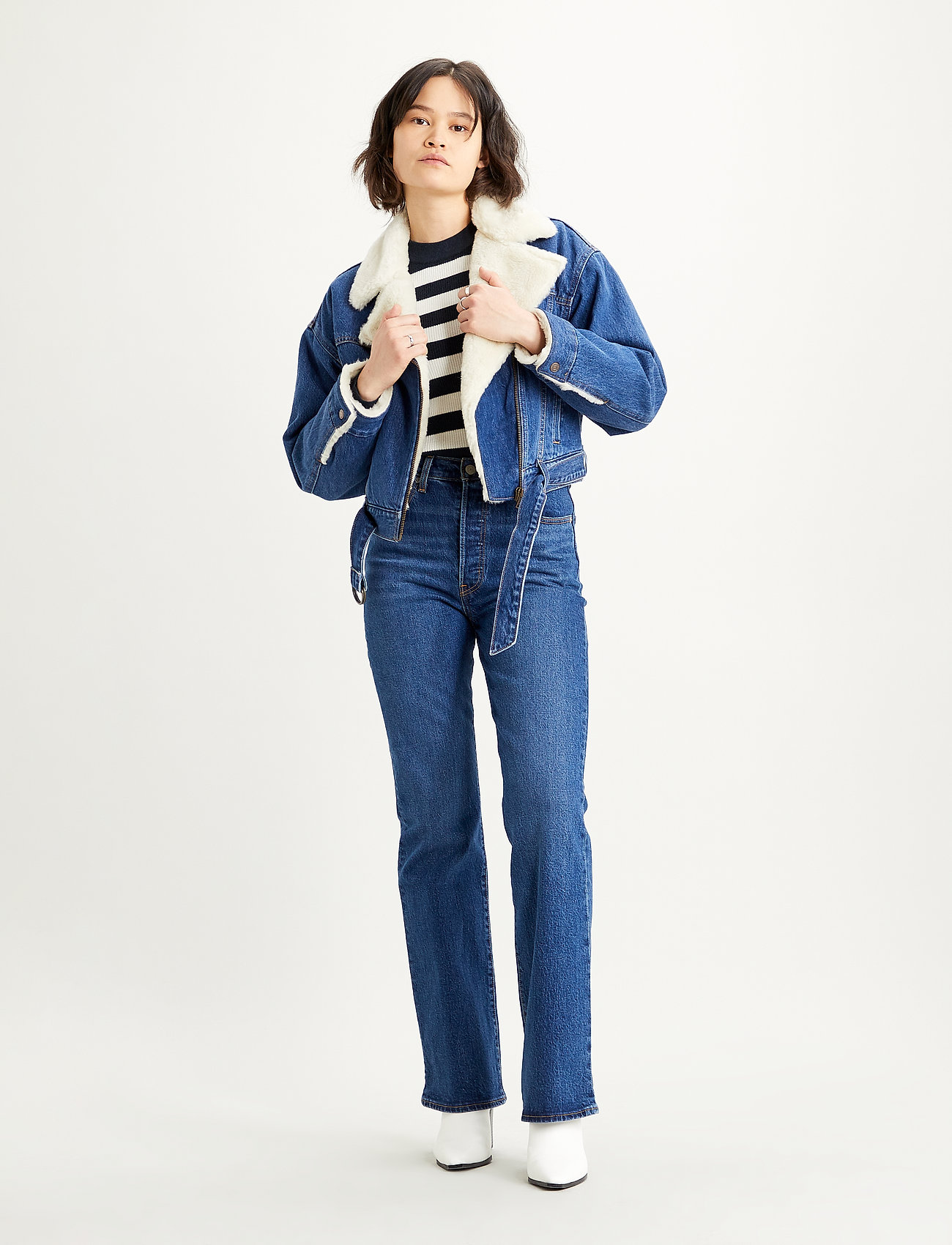 LEVI´S Women - COCOON BOMBER TRUCKER TAKE FLI - denimjakker - med indigo - worn in - 0