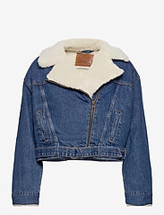 LEVI´S Women - COCOON BOMBER TRUCKER TAKE FLI - denimjakker - med indigo - worn in - 1