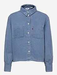 LEVI´S Women - ZOEY PLEAT UTILITY SHIRT STAY - long-sleeved shirts - med indigo - flat finish - 0