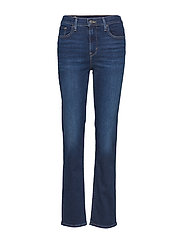 724 HIGH RISE STRAIGHT ROLE MO - MED INDIGO - WORN IN