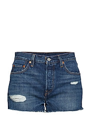 501 HIGH RISE SHORT SILVER LAK - MED INDIGO - WORN IN