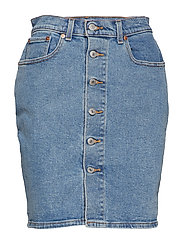 BUTTON THRU MOM SKIRT MID RACE - MED INDIGO - FLAT FINISH