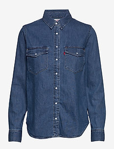 ESSENTIAL WESTERN GOING STEADY - long-sleeved shirts - med indigo - flat finish