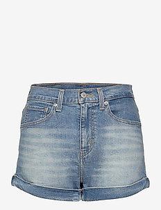 MOM A LINE SHORT 2 BANDIT BLUE - denimshorts - med indigo - worn in