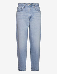 HIGH LOOSE TAPER WAY OUT TENCE - mom jeans - med indigo - worn in
