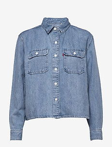 OLSEN UTILITY SHIRT LOOSEY GOO - denimskjorter - light indigo - worn in