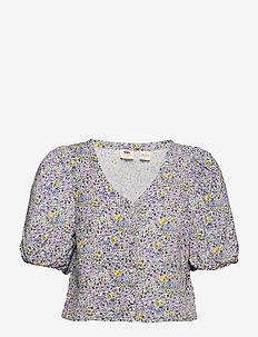 HOLLY BLOUSE MONROVIA FLORAL L - któtkie bluzki - multi-color