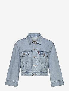 LOOSE SLEEVE TRUCKER LOOSEY GO - denim jackets - light indigo - worn in