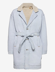 REVERSIBLE SHERPA COAT REVERSE - lette frakker - med indigo - worn in