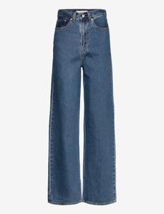 HIGH LOOSE LAZY SUNDAY - wide leg jeans - med indigo - flat finish